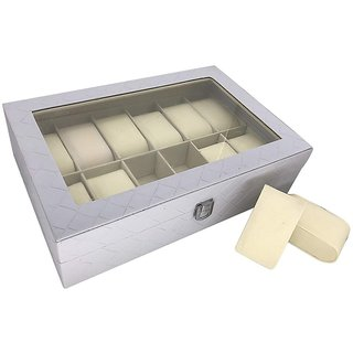 House of Quirk Watch Box 12 Slot For Pu Leather Design Display Case, Large Holder, Metal Lock - Check Grey Watch Box
