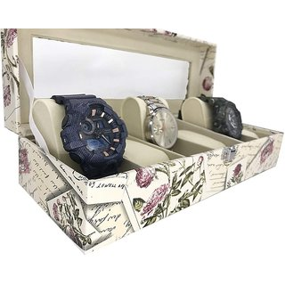 House of Quirk Watch Box Display Case Organizer For 6 Slot Luxury Set with Glass Top Pu Leather Velvet Pillows Metal Lock - Stamp Beige Watch Box