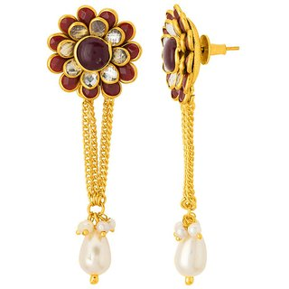 5002b4bfd9bed Voylla Stunning Gold Plated Floral Drop Earrings For Women
