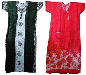 K T COLLECTION PACK OF 2 ASSORTED COTTON PRINTED WOMEN'S FULL NIGHTY XXL SIZE