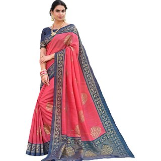 Indian Beauty Women's Pink Color Chanderi Printed  With Blouse Sarees