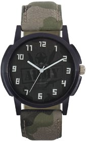 KDS Army Dial Leather Strap Stylish Analog Watch - For Men
