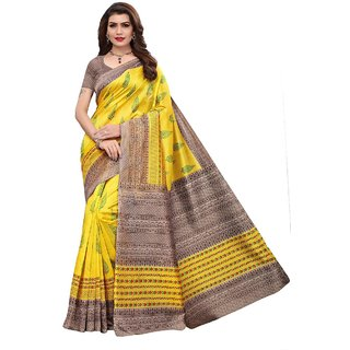 Indian Beauty Women's Chanderi Printed With Blouse Saree