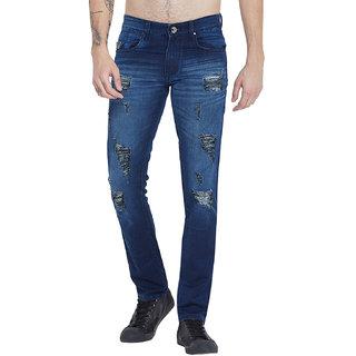 Stylox Men Slim Fit Dark Blue Patch Work Mid Rise Jeans