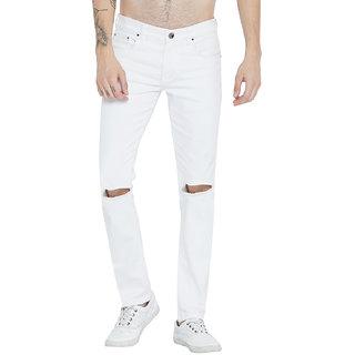 Stylox Men Regular Fit Knee Slash White Jeans