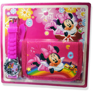 6th Dimensions Mini Mouse Printed Watch and Coin Pouch Kids Gift Item