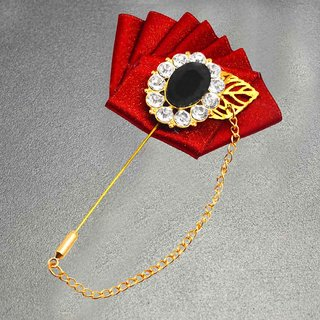 3d39b3455 Buy Sullery Rhinestone Crystal King Crown Fleur de lis Wedding Lapel Pin  Sherwani Coat Pin Chain Brooch For Office Corporate/ Wedding Party Online -  Get 72% ...