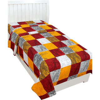 BSB Trendz Glace cotton 3D Printed Single Bedsheet without Pillow Cover - Vi2847Colour-Yellow