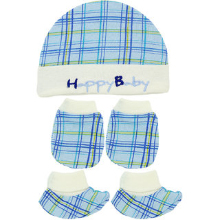 Neska Moda Baby Blue Mittens And  Booties with Cap Set 3 Pcs Combo 0 To 6 Months