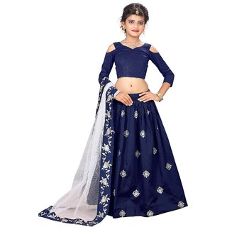 F Plus Fashion Latest Embroidered Wedding wear Semi Stitched Kids Lehenga Choli (Comfortable To 8-13 Year Girls )