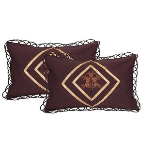 Manvi Creations Embroidered Cotton Pillow Cover Set of 2 Brown