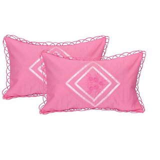 Manvi Creations Embroidered Cotton Pillow Cover Set of 2 Light pink