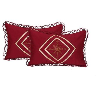 Manvi Creations Embroidered Cotton Pillow Cover Set of 2 Maroon