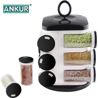 Ankur Modern 12 Jars Revolving Spice Rack - Black