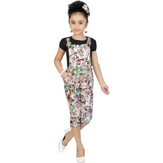 Arshia Fashions Girls Party Wear Top And Dungaree Set