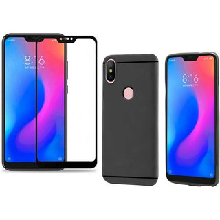 sale retailer be039 0be89 Redmi Note 6 Pro 5D Tempered Glass With Black Cover Combo Standard Quality