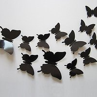 SKY HOME DECOR  DIY 3D Butterfly Wall Sticker Art Decal PVC Paper- 12pcs (Black) Wall Sticker for Home Dcor