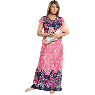 Be You Pink Floral Women Feeding Gown / Nursing Gown