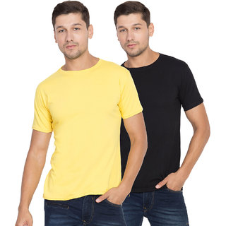 Cliths Men's Round Neck Slim Fit Cotton Solid T-Shirts Set of 2 (Black, Yellow)