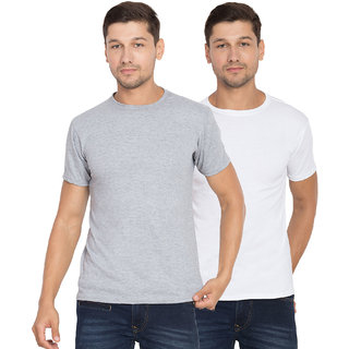 Cliths Cotton T-Shirt Combo For Men - Pack of 2 (Grey, White)