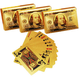 PEEPALCOMM  24K GOLD PLATED PLAYING CARD SET OF 3