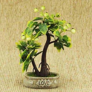 ZEVORA  Green Fruit Tree Love 8 Inch Artificial Tree for Indoor/Outdoor Home, Office, Garden Lawn Decoration with Pot