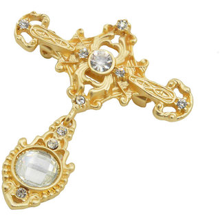 Sullery Men's Rhinestone Cross Chain Brooch Lapel Pin Shirt Suit Wedding  Accessory Gold Crystal And Brass Brooch