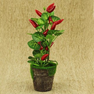 ZEVORA Red Chili Plant 8 Inch Artificial Plant for Indoor/Outdoor Home, Office, Garden Lawn Decoration with Pot