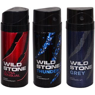 WiLD STONE Ultra Sensual,Thunder  Grey (each 150ml) Pack of 3