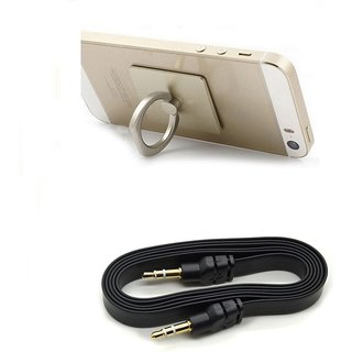 Combo of Ring and Aux Cable (Assorted Colors) By KSJ Accessories