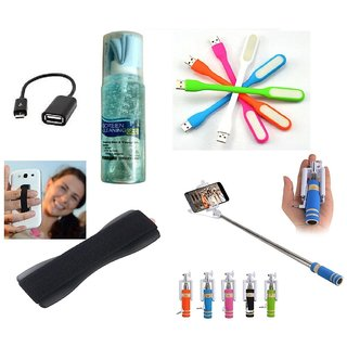(S03) Combo of Selfie Stick, LED Light, Cleaning Gel Spray, OTG Cable and Mobile finger Grip for SmartPhones -Multicolor