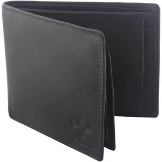 Krosshorn Men Genuine Leather Black Formal Wallet