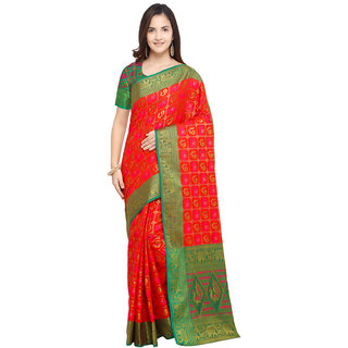 Swaron Red Color Poly Silk Patola Saree