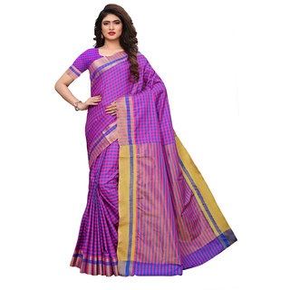Swaron Pink, Purple Color Poly Silk Woven Checks Saree
