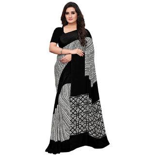 Swaron Black Color Crepe Printed Saree