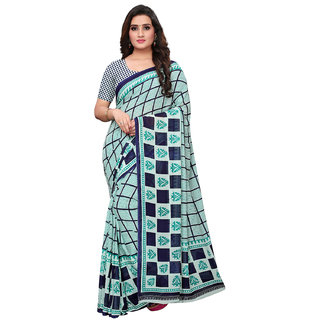 Swaron Turquoise & Blue Color Georgette Printed Saree