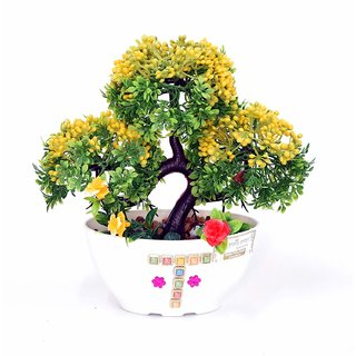 Artificial Plant with Pot and All Accessories for Home and Office Decor a24 (9 Inch Height)