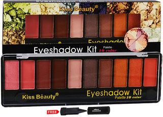 Kiss Beauty Eyeshadow Kit Palette 10 Colour 8161-A01 With Free Adbeni Kajal