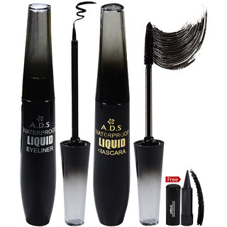 ADS Waterproof Mascara & Eyeliner A1588EM With Free Adbeni Kajal
