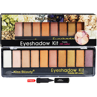 Kiss Beauty Eyeshadow Kit Palette 10 Colour 8161-a02 With Free Adbeni Kajal