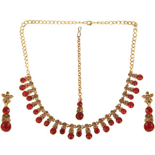 Kord Store Party Wear Golden and Maroon Traditional Jewellery Necklace Set with Earrings for Women Girls.