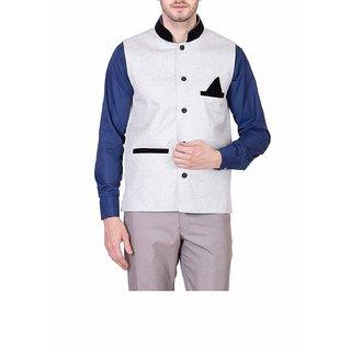 KGD EXPORTS Men Jute Nehru Black Jacket Waistcoat-Small