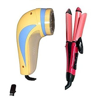 Combo of 2 in 1 hair curler cums with straightener and New Lint Remover CUM FUZZ REMOVER FOR ALL WOOLENS