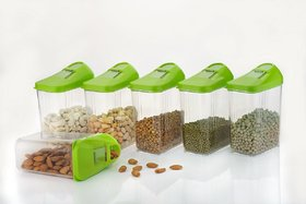 Ankur Plastic Cereal Dispenser Easy Flow Storage Jar with Lid for Cereals, Rice and Pulses, 750ml Set of 6
