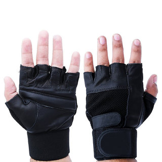 Netted Gym  Fitness Gloves With Wrist Support, Leather, Black, Free Size
