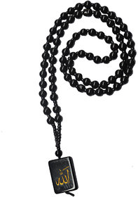 Men Style 6mm Crystal Bead  Arabic  Allah Square Tone    Black  Crystal Sqaure Pendant Necklace For Men And Women