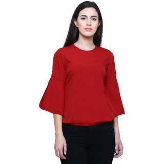b64b5588278 Buy BODYNEEDS Women Western Wear Top With Open Bell Sleeves (Red ...