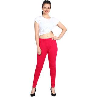 Flyra Women's Red Plain Cotton Lycra Churidar Leggings