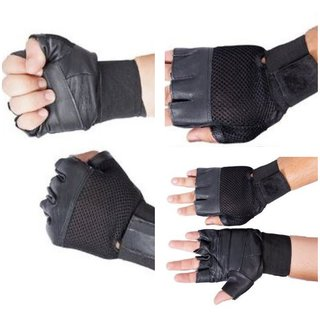 Gym Gloves -Set Of 2 - With Wrist Support (Black) (Leather) - Free Size (High Quality)