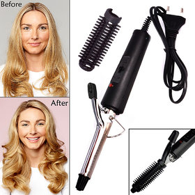 Professional Stainless Steel Curl Hair Curler Curling Iron Rod Brush Wand Waver Maker Women Lady Hair Styling Tool 25W